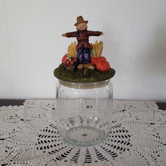 Cute Glass Candy Jar Scarecrow Pumpkin Cornstalks